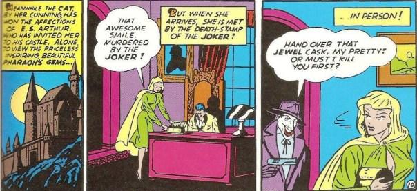 A Mulher-Gato é surpreendida pelo Coringa em Batman 02, de 1940.