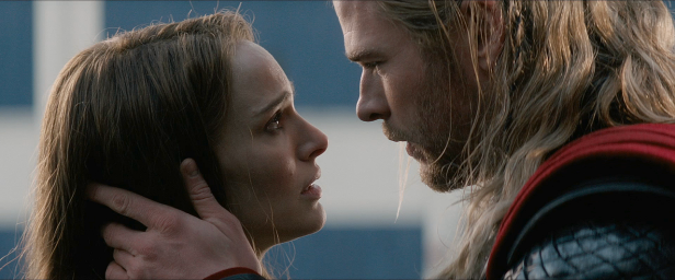 thor 2 jane and thor almost kissing