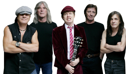 AC/DC (Johnson, Williams, Angus, Rudd e Malcolm): banda se desfazendo.