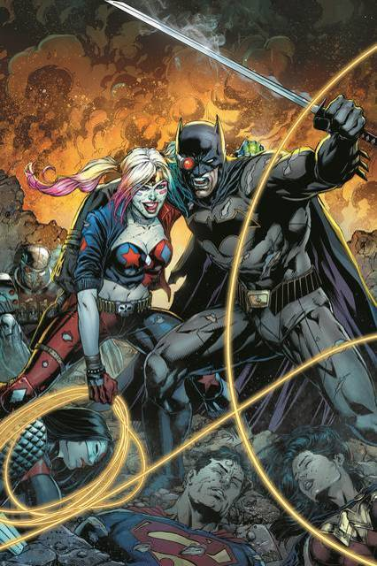 Arlequina e Batman na imagem promocional da minissérie.