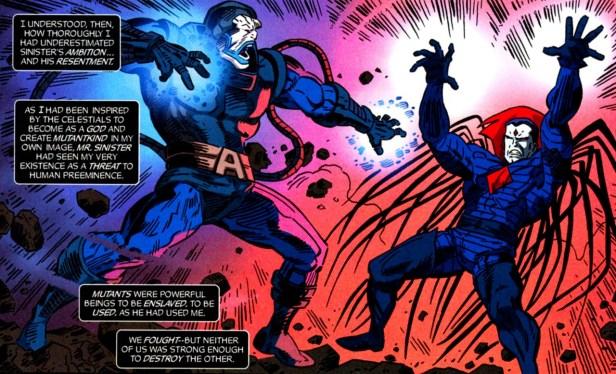 Apocalipse vs. Sinistro. O primeiro criou o segundo, mas viraram inimigos.