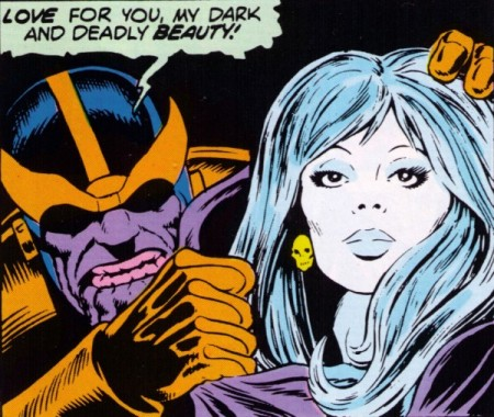 Thanos e a Morte nas HQs. Arte de Jim Starlin.