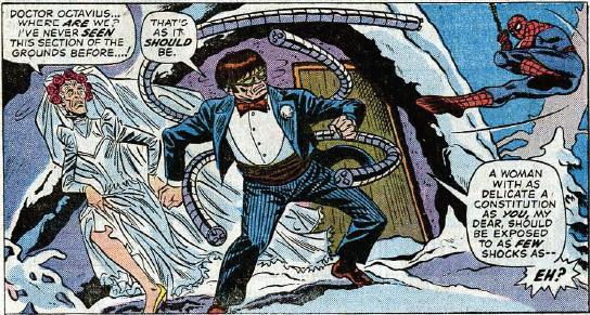 May quase se casou com o Dr. Octopus, em Amazing Spider-Man 131. Arte de Ross Andru.