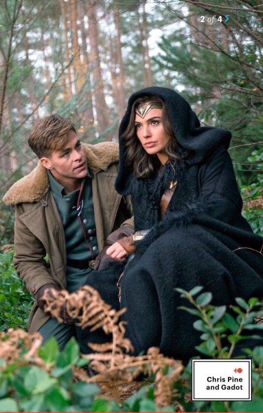 Steve Trevor e Diana numa floresta. Amor do passado.