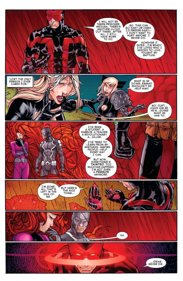 Ciclope discursa diante de Medusa e Raio Negro.