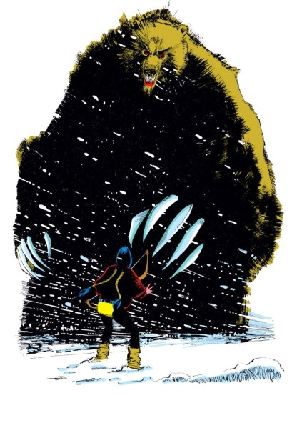 O Urso Demônio e Danielle Moonstar na arte de  Bill Sienkiewicz.
