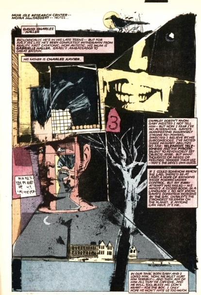 A arte abstrata de Sienkiewicz em Novos Mutantes.