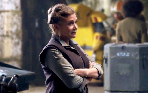 Carrie Fisher como Leia Organa em O Despertar da Força.
