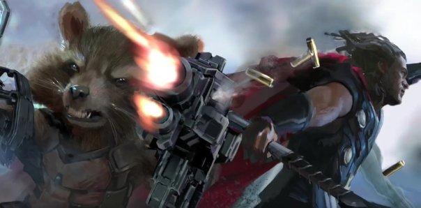 Rocket e Thor juntos.
