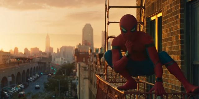 homecoming trailer spidey in the outside building