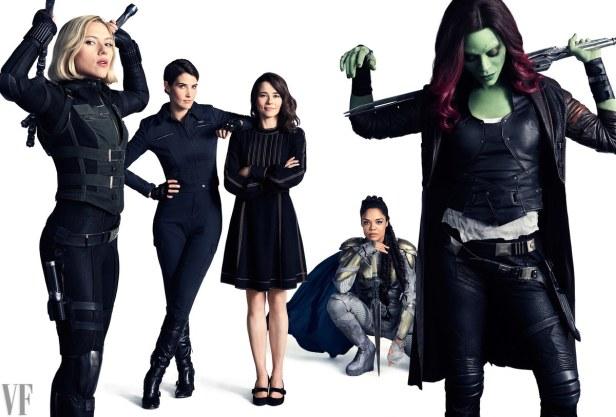 avengers infinity war vanity fair widow hill laura barton valkyrie gamora
