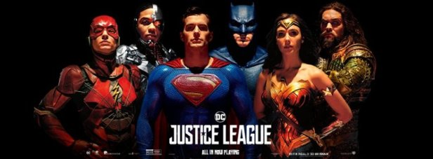 justice league movie banner with superman (bustes)