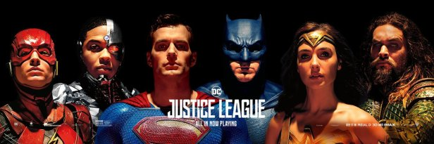 justice league movie banner with superman (heads)