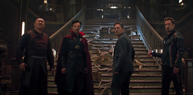 infinity war wong strange banner and stark in sanctum