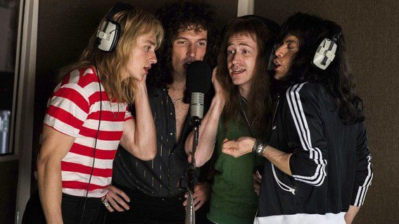 bohemian-rhapsody-movie the band recording vocals
